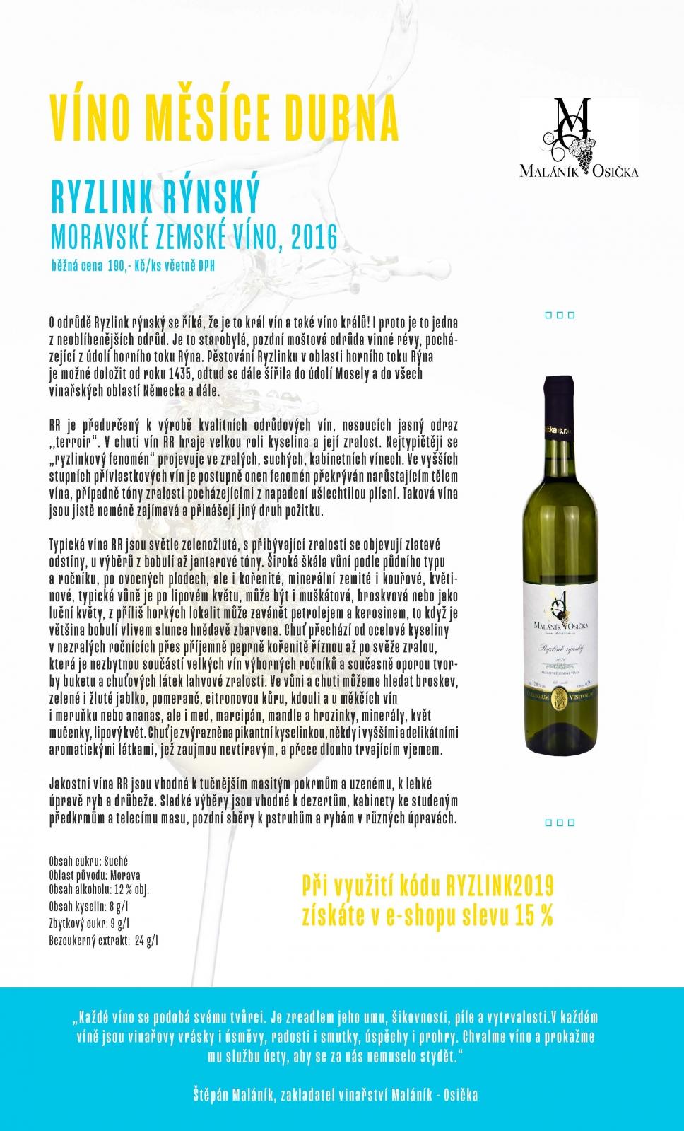 Víno měsíce dubna